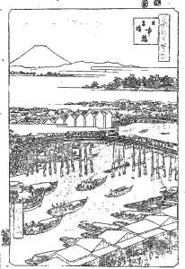歌川広重 Utagawa Hiroshige 塗り絵 coloring 浮世絵 ukiyo-e_Nihonbashi, Clearing After Snow (Nihonbashi yukibare)-rinkaku01