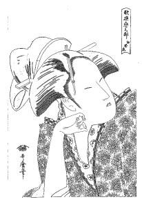 喜多川歌麿 Kitagawa Utamaro 塗り絵 coloring 浮世絵 ukiyo-e_Reflective Love (Mono omou koi), from the series Anthology of Poems The Love Section (Kasen koi no bu)-rinkaku00