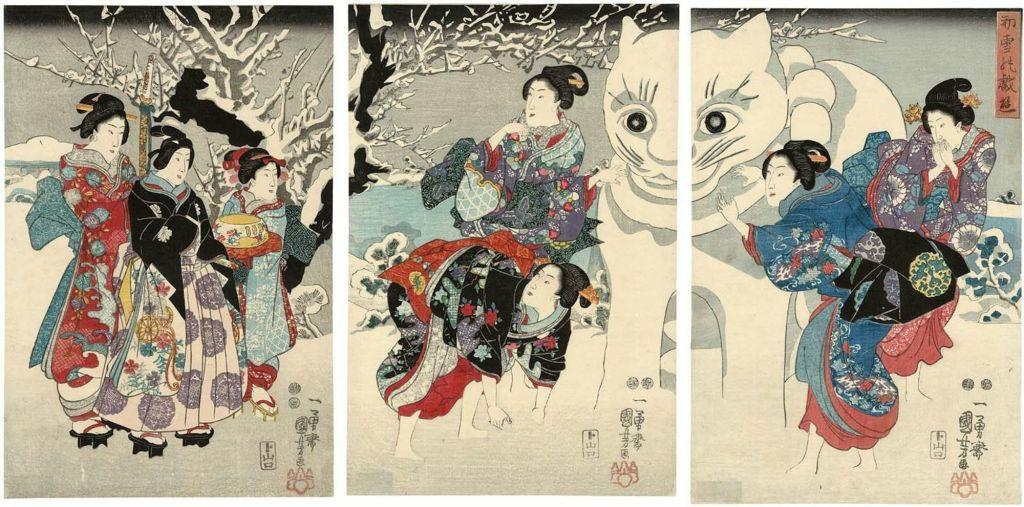 Kuniyoshi_Amusements of the First Snowfall (Hatsuyuki no giyû)