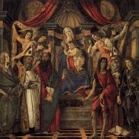 聖母子、4人の天使、6人の聖人