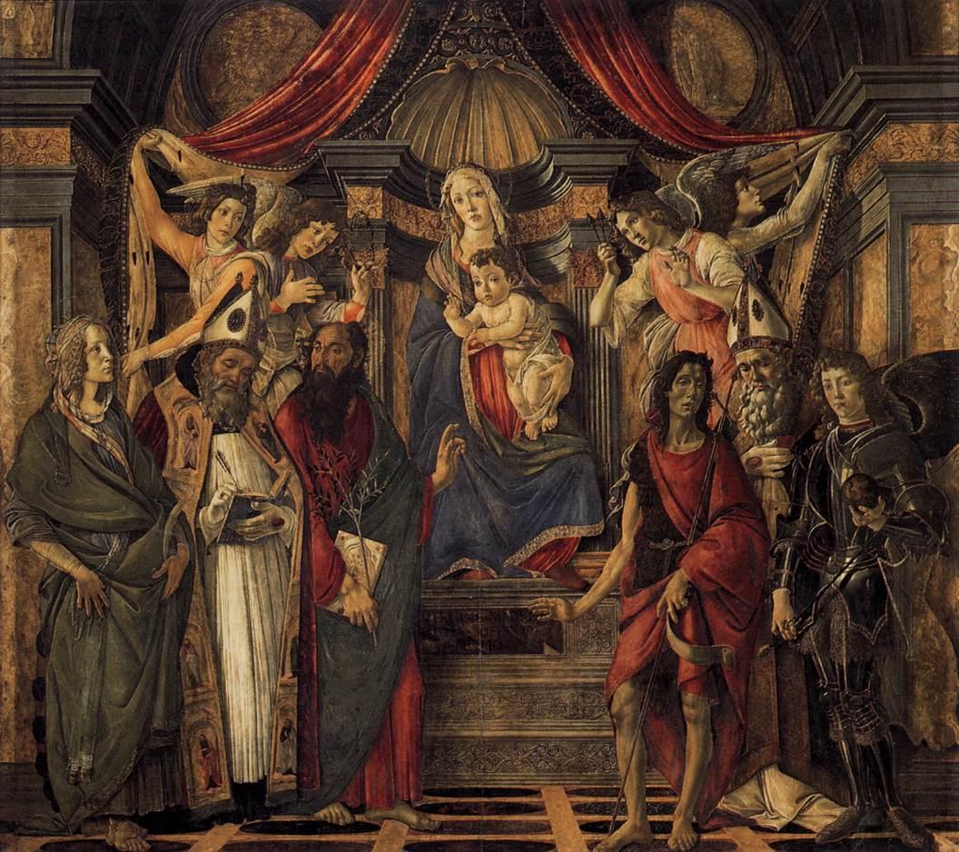 ボッティチェリ Botticelli -聖母子、4人の天使、6人の聖人 The Virgin and Child with Four Angels and Six Saints