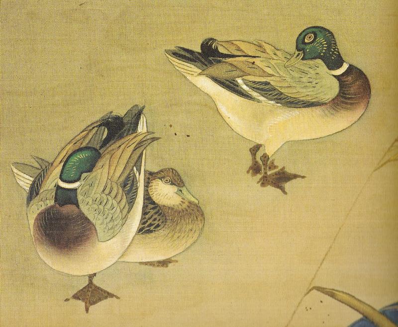 鈴木其一 Suzuki Kiitsu 流水に鴨図 Ducks and stream