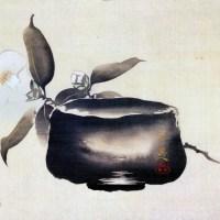 白椿に楽茶碗図