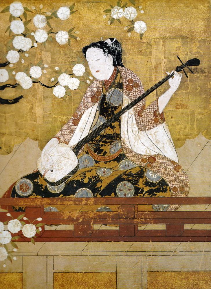 桜下弾弦図屏風 Young Women Enjoing Samisen Music under a Cherry Tree