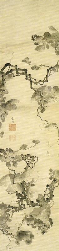 伊藤若冲 Ito Jakuchu 葡萄図  Budo-zu (Grapevines)