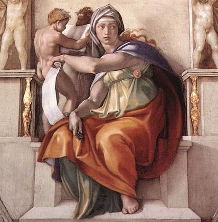 ミケランジェロ『システィーナ礼拝堂天井画』デルフォイの巫女