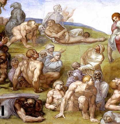 ミケランジェロ『最後の審判』よみがえる死者たち
