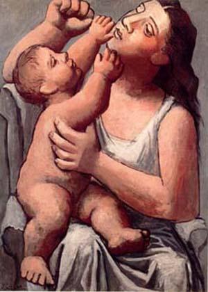 Winnicott relation mère enfant: Picasso. Mere et enfant 1921-1922.