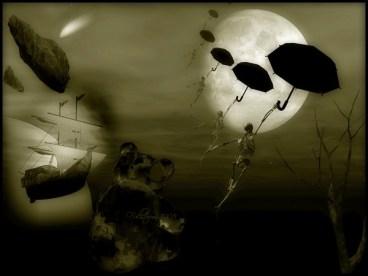 psychodrame : élaborer ses angoisses: des cadavres volent dans le ciel à côté d'un nounours