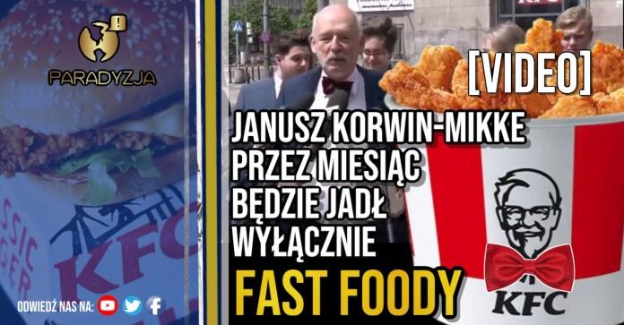 Janusz Korwin-Mikke przez miesiąc będzie jadł wyłącznie fast foody [VIDEO]