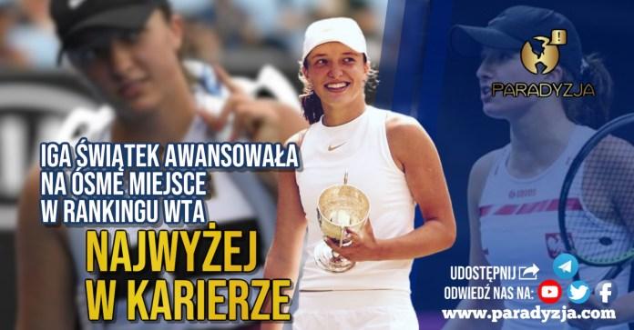 Iga Świątek awansowała na ósme miejsce w rankingu WTA. Najwyżej w karierze