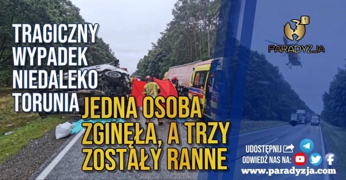 Tragiczny wypadek niedaleko Torunia. Jedna osoba zginęła, a trzy zostały ranne