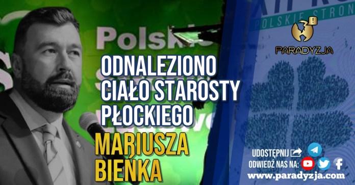 Odnaleziono ciało starosty płockiego Mariusza Bieńka
