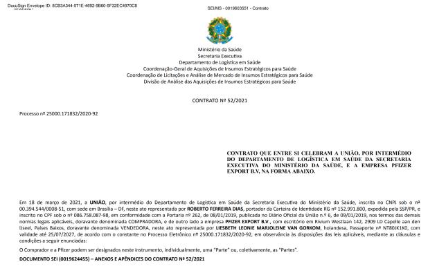 Dokument, który Pfizer podpisał z rządem Brazylii / Źródło: AFLDS
