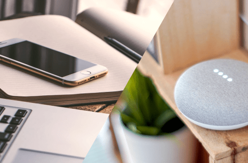 maison-connectee avec iphone, ordinateur et google home