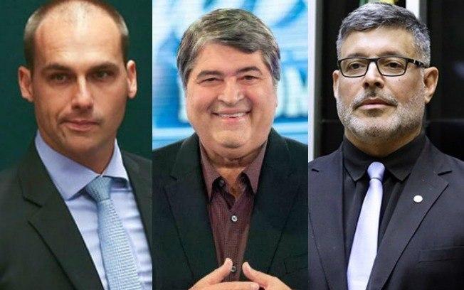 """""""Briga e mais brigas"""": Nome do apresentador Datena gera discórdia entre Alexandre Frota e Eduardo Bolsonaro"""