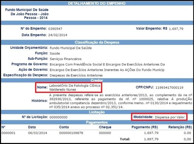 Empresa de diretor da Secretaria de Saúde faturou R$ 250 mil da PMJP, revela TCE-PB