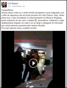 Vídeo: Mulher tem carro arrombado dentro do estacionamento do Manaíra Shopping