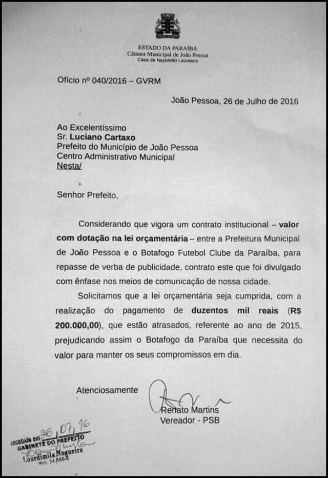 Vereador cobra dívida de R$ 200 mil que a Prefeitura de JP detém com o Botafogo-PB