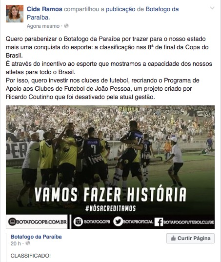Cida promete reativar incentivo ao futebol através do programa JP de Todas as Torcidas