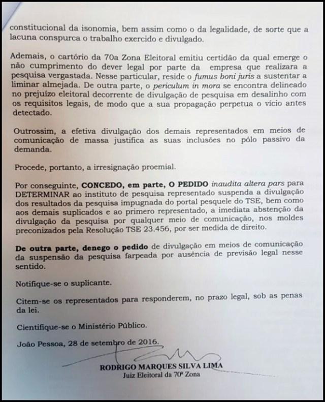 Justiça Eleitoral suspende pesquisa ilegal que apontava vantagem de Cartaxo em JP