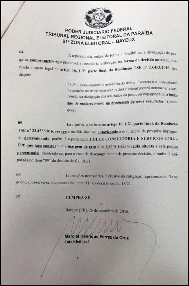 Juiz revoga decisão e libera divulgação de pesquisa LGLUZ para prefeito de Bayeux
