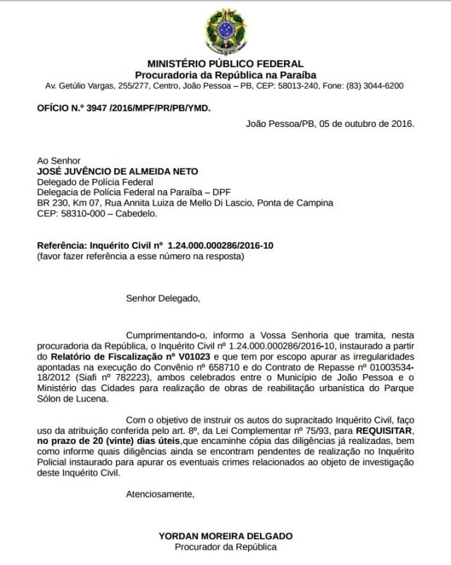Caso Lagoa: MPF solicita auditor da CGU e diligências da PF para avaliar defesa da PMJP