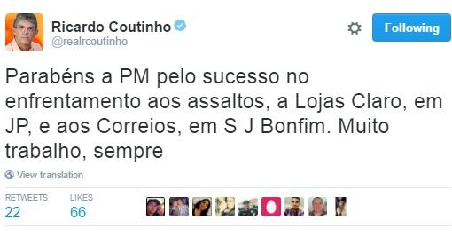 Ricardo elogia ação da PM em assalto com reféns na Epitácio Pessoa