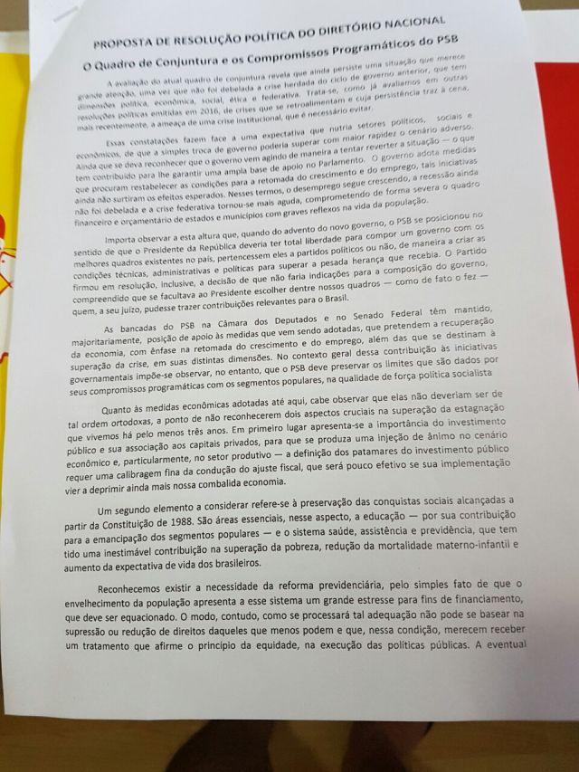 Durante reunião da Nacional, PSB da PB sugere reavaliação de apoio a Temer