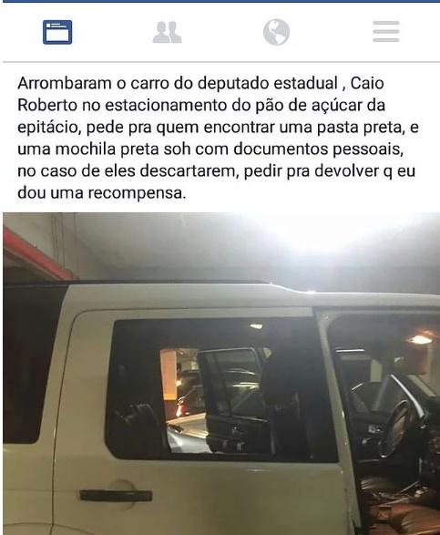 Deputado paraibano tem carro arrombado em supermercado da Capital