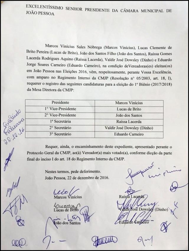 Com apoio de 20 vereadores, Marcus Vinícius registra chapa; confira os documentos
