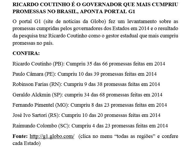 Levantamento aponta que Ricardo é o governador que mais cumpriu promessas de campanha