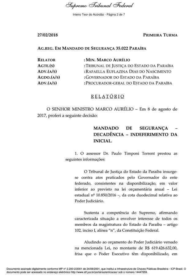 STF rejeita por unanimidade recurso do TJPB contra duodécimo pago pelo Governo do Estado