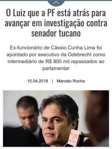 No encalço de Cássio, PF chega a ex-assessor que teria negociado propina de R$ 800 mil com a Odebrecht