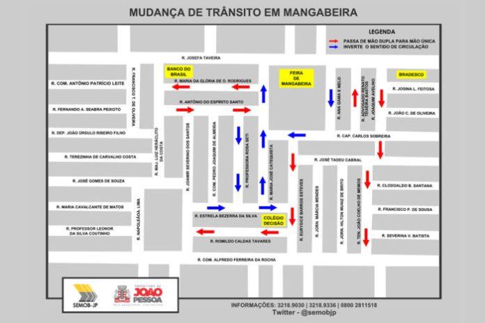 Semob-JP altera circulação de ruas no entorno da Feira de Mangabeira a partir desta quarta