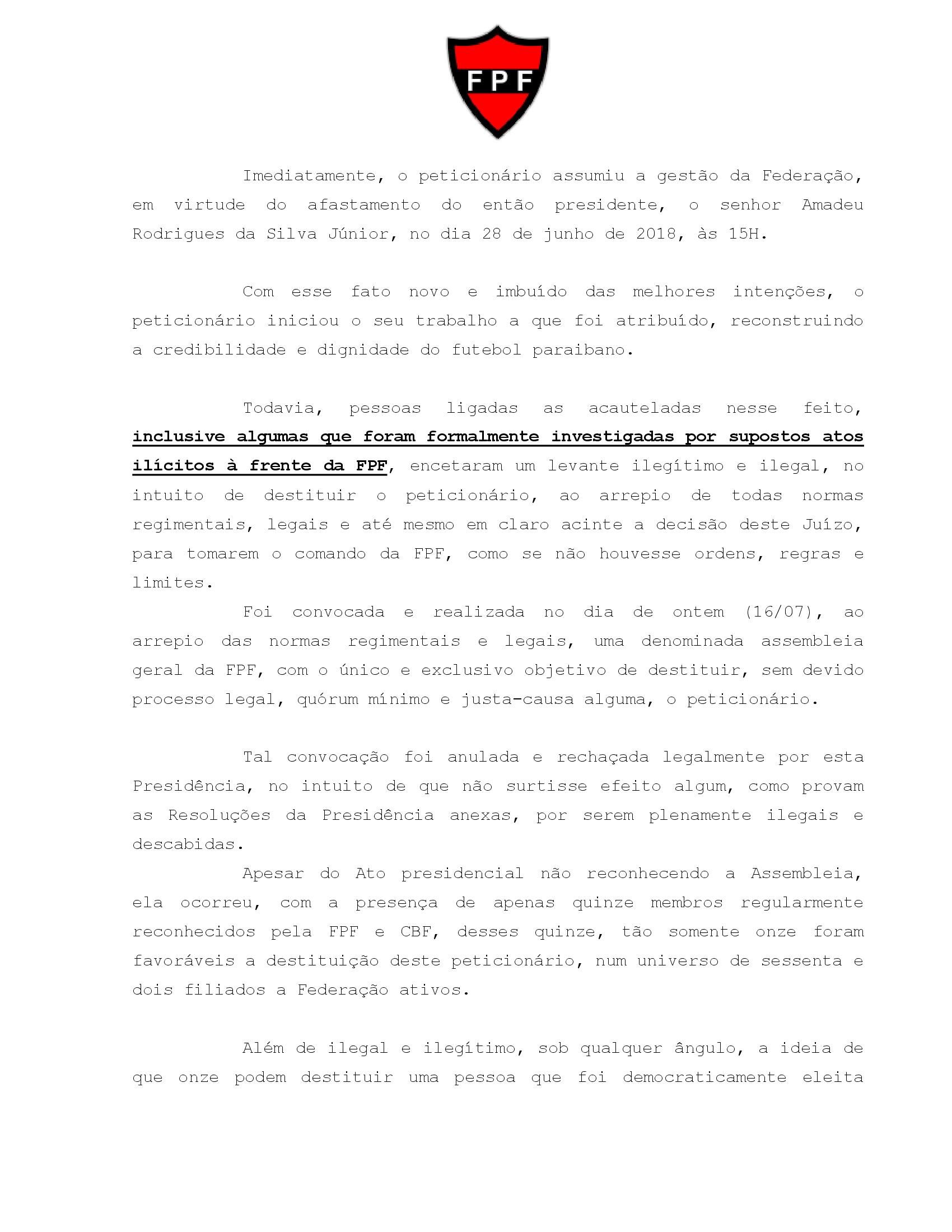 FPF: defesa de Nosman aciona Justiça, Gaeco e PC contra assembleia que o destituiu; veja documentos