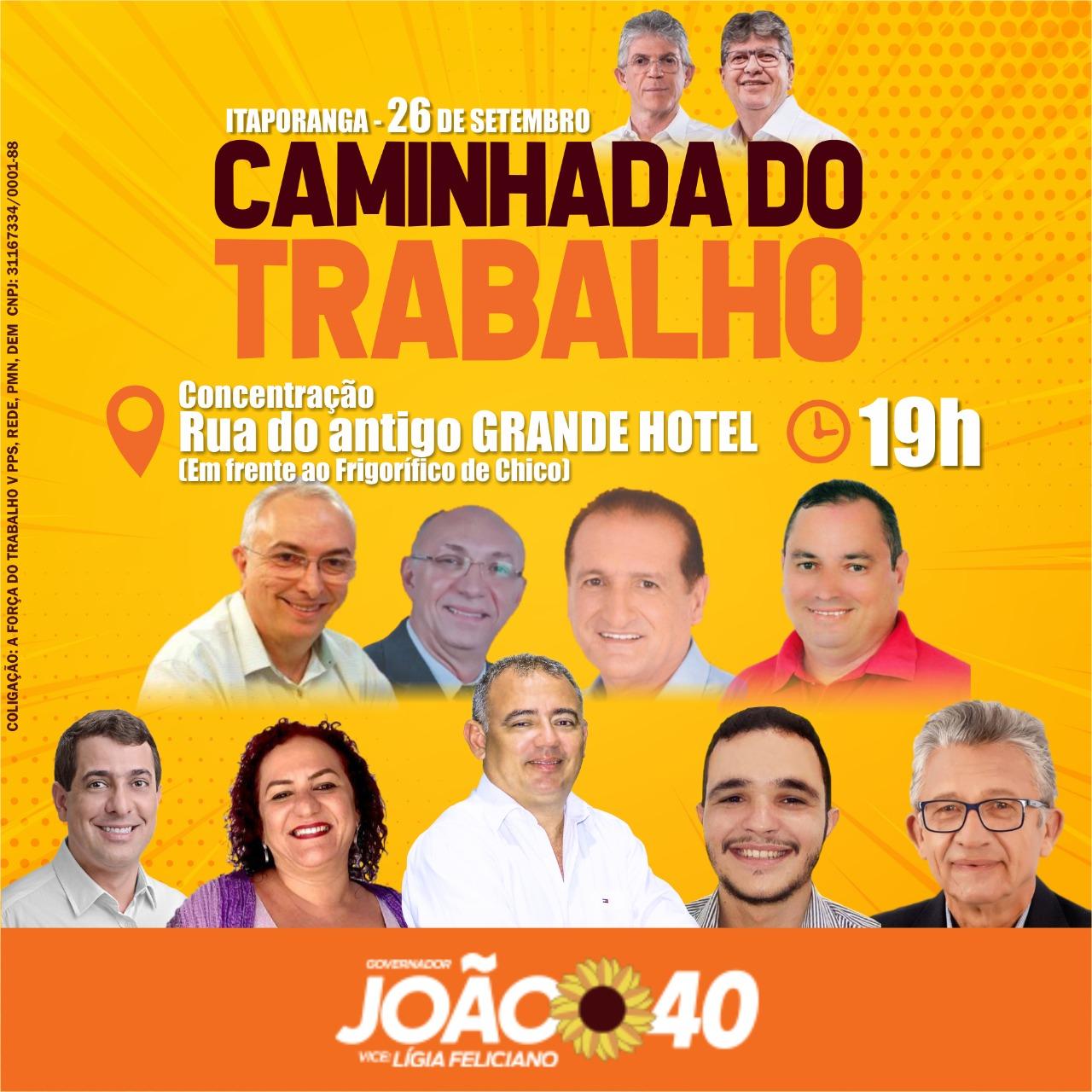 João e Ricardo realizam 'Caminhada do Trabalho' em Itaporanga nesta quarta