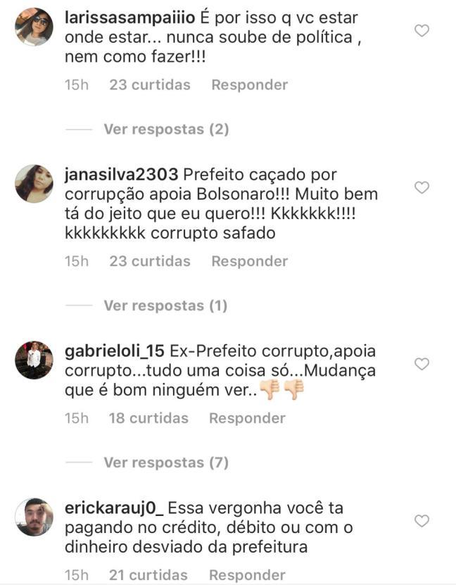 Prefeito afastado por suspeita de corrupção posta conteúdo pró-Bolsonaro e é hostilizado