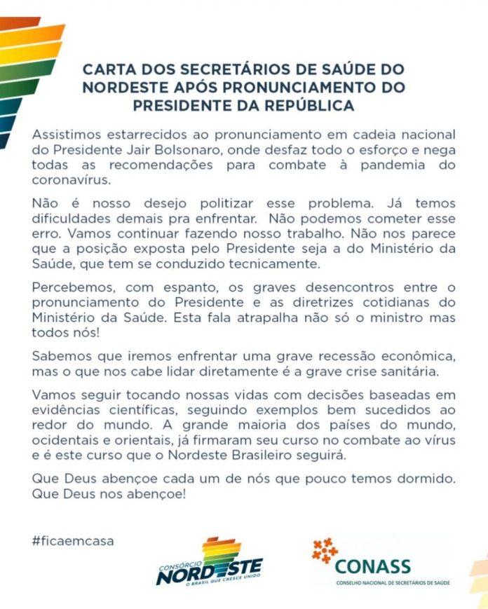 Coronavírus: Secretários de Saúde do Nordeste divulgam carta 'detonando' fala de Bolsonaro