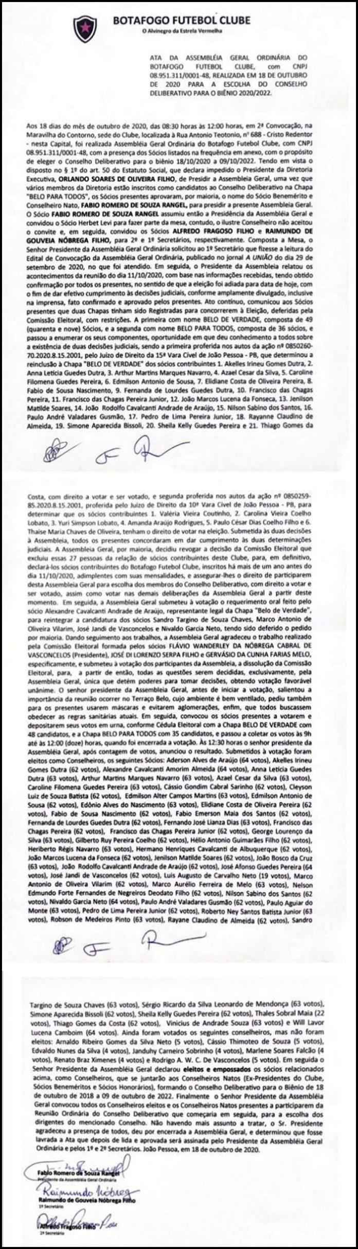 Veja ata: sem presença da situação, sócios do Belo elegem novos conselheiros
