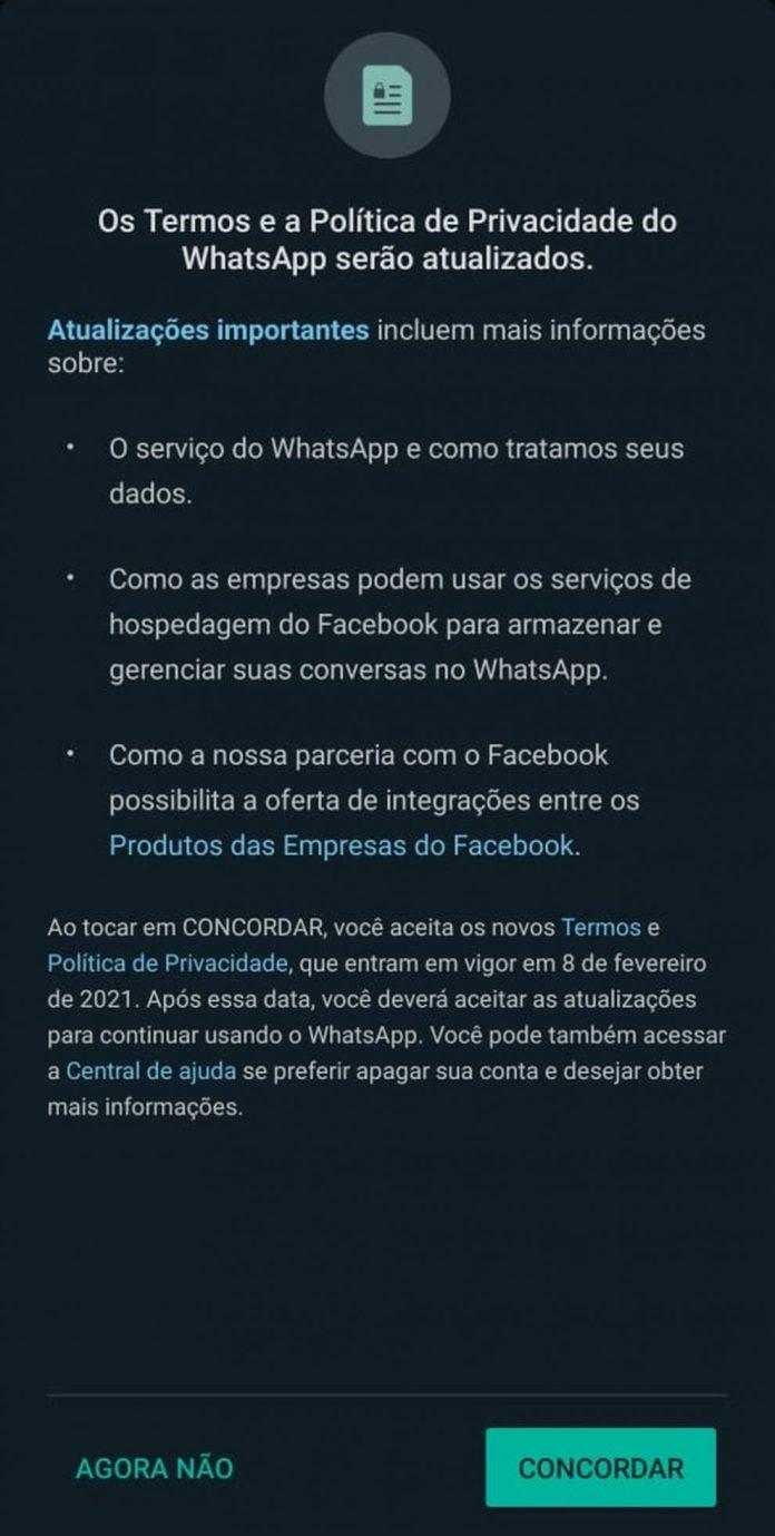WhatsApp avisa que permitirá ao Facebook acesso de dados de seus usuários