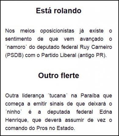 PSDB da Paraíba pode perder até dois deputados federais, revela colunista