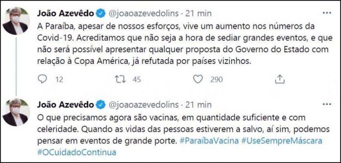"""João veta jogos da Copa América na Paraíba: """"precisamos agora são vacinas"""""""