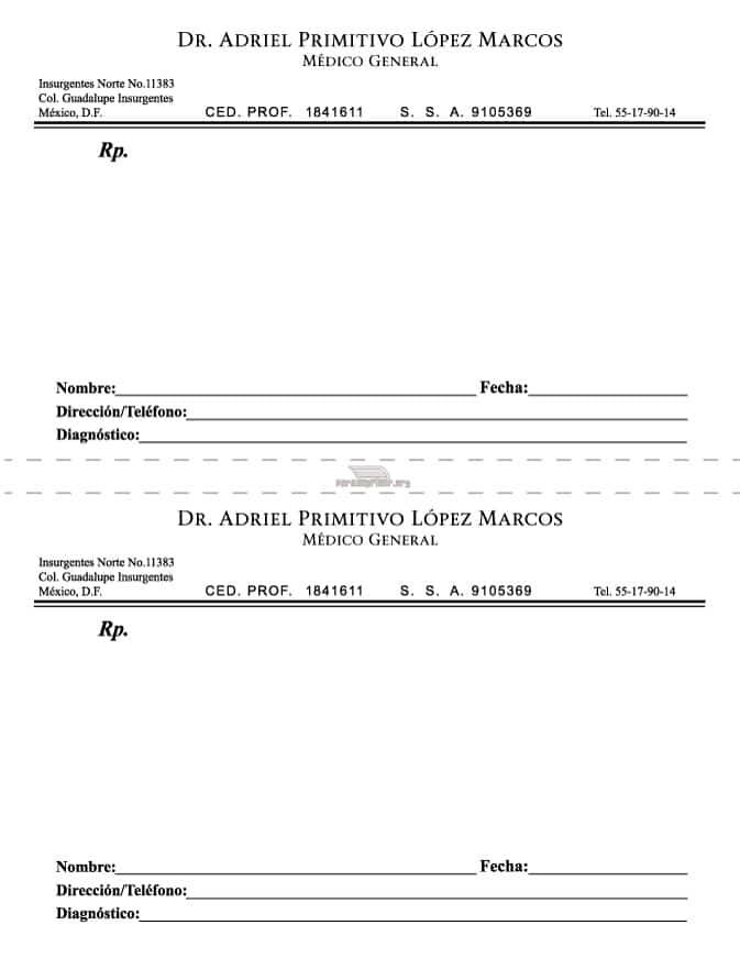 Receta Medica Para Imprimir