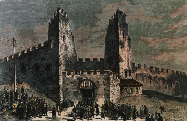 Η Ληταία Πύλη. Χαρακτικό του περιοδικού Le Monde Illustre 1876.