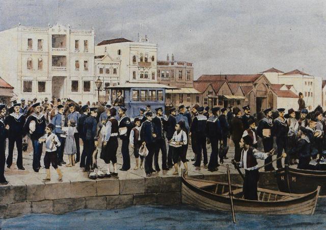 Το ιππήλατο τραμ στην παραλία. Βρετανοί ναύτες περιμένουν να επιβιβασθούν στα πλοία τους. Έγχρωμη φωτοψευδαργυρογραφία από την εφημερίδα The Illustrated London News 1895. Συλλογή Γ. Πατιερίδη & Κ. Σταμάτη.