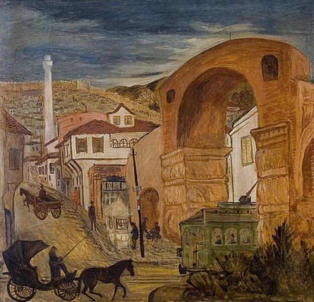 Πολύκλειτος Ρέγκος. Παϊτόνι, κάρο και τραμ στην Καμάρα. Ελαιογραφία 1939.