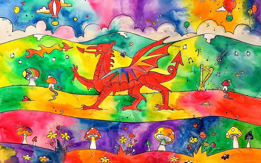 Rhiannon Art Our Colourful Welsh Dragon 1024x768 parallel.cymru wallpaper
