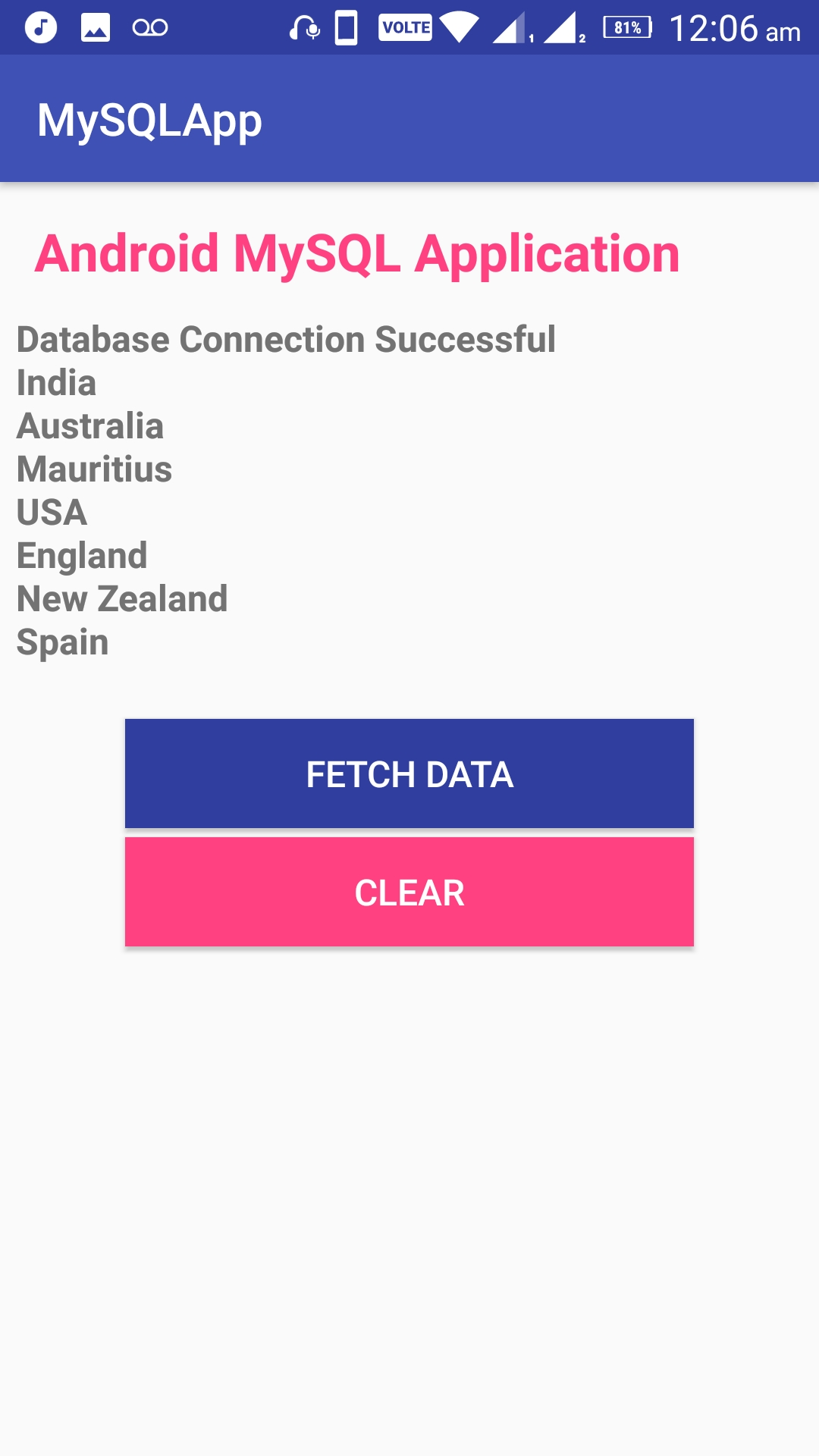 Android Connect MySQL Database Programmatically • ParallelCodes