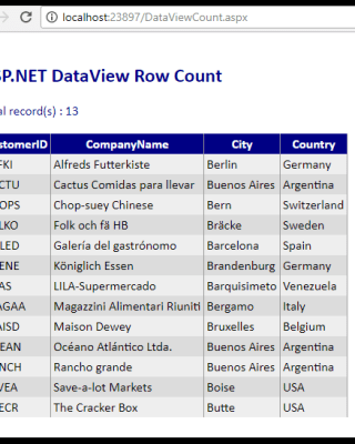 DataView Row Count after Filtering Data in C# ASP NET • ParallelCodes